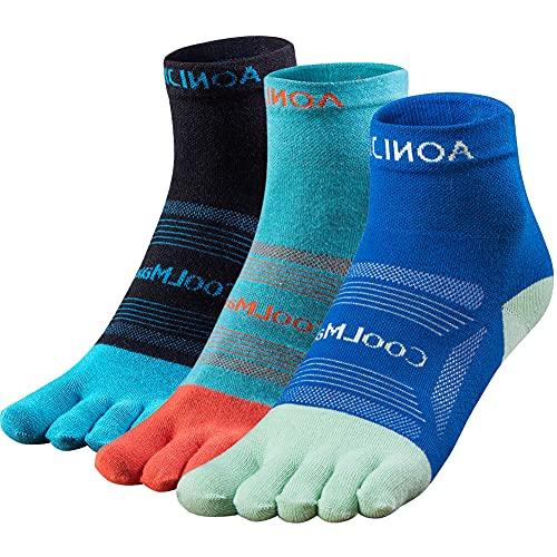 OrrinSports 3 pares de calcetines atléticos para mujer y hombre, calcetines de cinco dedos, 02B# media pantorrilla/3 pares – Mediano (5-7.5), M