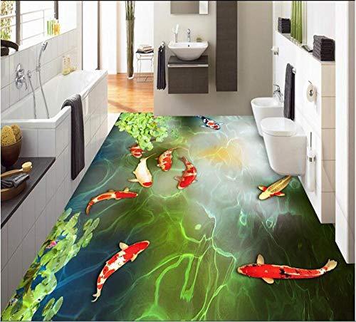 3D-Boden Benutzerdefinierte wasserdichte 3D-PVC-Boden Neun Fischteich Karpfen Schwimmen 3D-Badezimmerboden Foto Wallpaper Wand 3D-200Cmx140Cm