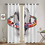 DONEECKL World Shading Insulated Curtain Earth Planet and Orbit with National Flags International Composition with Countries for Living Room or Bedroom W72 x L96 Inch Multicolor