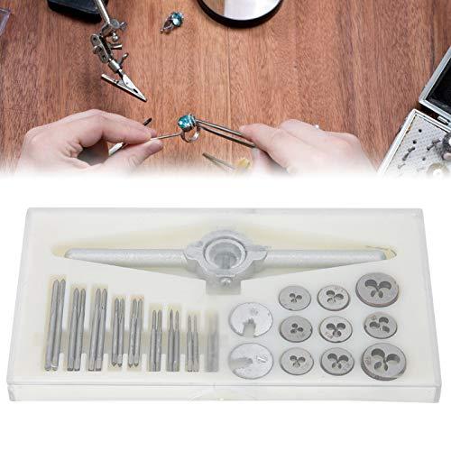Matriz de rosca con caja de almacenamiento de plástico Juego de matrices de rosca de metal de calidad, para fabricantes de joyas Machos de roscar Herramientas manuales