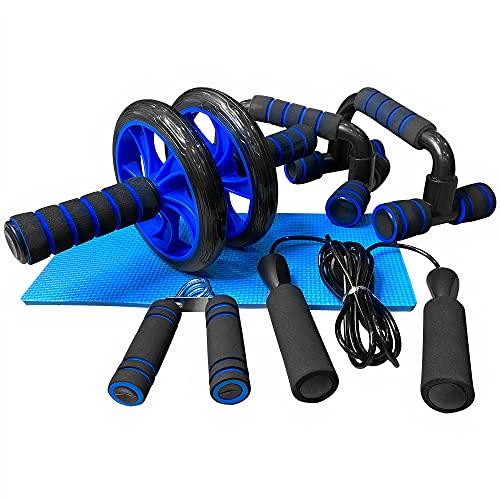 unycos - 5 en 1 - Kit de Rueda Abdominal, Push Up Bars, Cuerda para Saltar, Fortalecedor de Mano, Rodilla Mat para Entrenamiento en Casa Ejercicios Fitness (Azul)