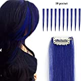 Extension a Clip Cheveux Pas Cher Extensions Synthétique Clips Raide [1 Clip 10 Pièces ] Rajout Cheveux Postiche a Froid - [ Bleu Foncé ] Raide