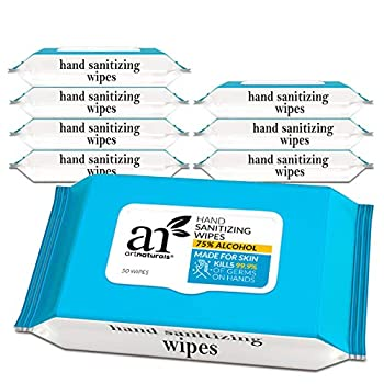 artnaturals Cleansing Wipes -  8 Pack x 50CT  75% Alcohol Hand Sanitizing Unscented Travel Size Cleaning Wet Wipe Disposable