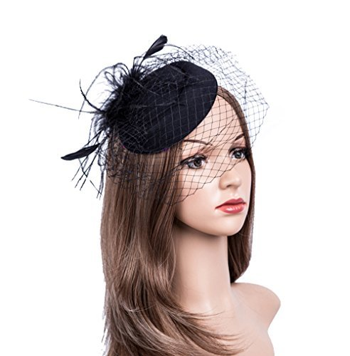 Fascinators Hats 20s 50s Hat Pillbox Hat Cocktail Tea Party Headwear with Veil for Girls and Women(1-B1-black)