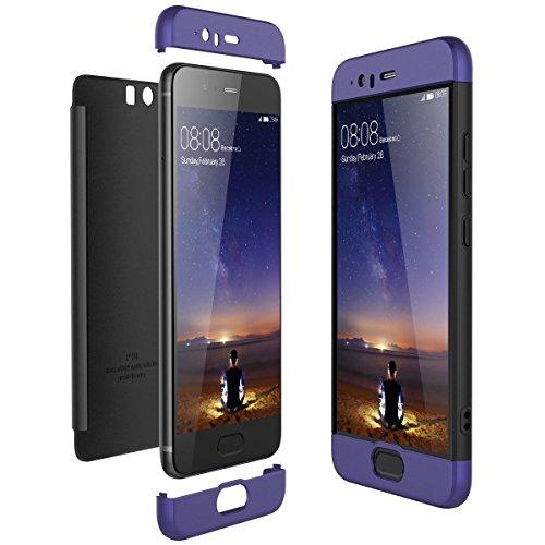 für Huawei P10 Plus Hülle,Honor P10 Handyhülle 3 in 1 Ultra-dünne Anti-Kratzer Hard PC Case Cover mit Stoßfänger Anti-Rutsch Matt für P10+ 5.5 Zoll Case Cover (Blau + Schwarz, P10)