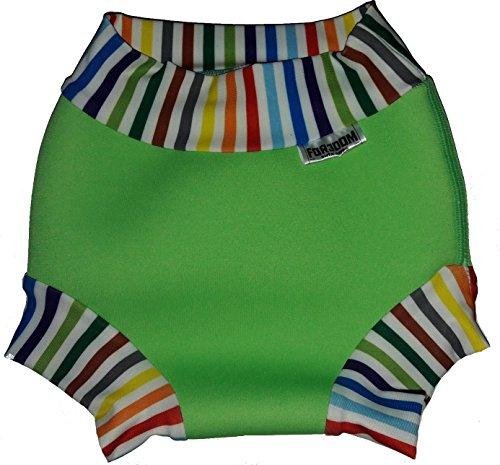 Maillot de bain pour bébé en néoprène Nappy (rayures vert néon multicolores, M - 8-11 kg)