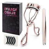 Cololline アイラッシュカーラー ビューラー 睫毛 高級感/高品質/ステンレス製、替えゴム5個付き、毛抜き