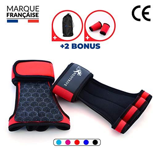 Neotrive Pull Up Grips, Hand Grips, Wodies für Calisthenics, Crossfit, Freeletics, Gymnastik, Turnen - Alternative für Trainingshandschuhe und Fitness Handschuhe (ROT, S)