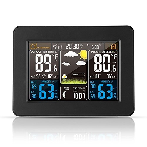 Atomic Wireless Weather Station with Indoor / Outdoor Wireless Sensor – TG645 Color Display Weather Station Alarm Clock With Temperature Alerts, Forecasting by Think Gizmos.