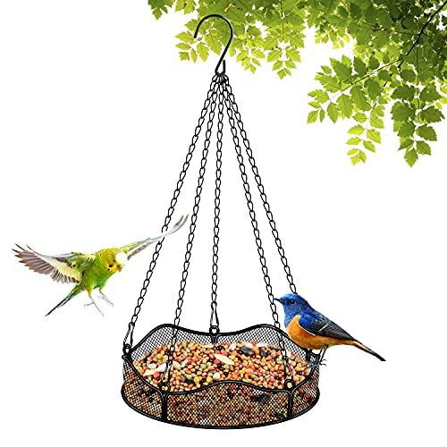Comederos de pájaros Colgantes para pájaros Grandes Plataforma de comedero de pájaros al Aire Libre Bandeja Colgante Robusta decoración de jardín de jardín (Flor)