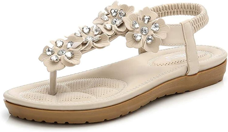 Women's Wedding Sandals Flip-Flops Flower Rhinestone Decoration Bohemian Dress Shorts Collocation Weave Slippers,Airport,40