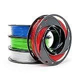 Gizmo Dorks PETG Filament for 3D Printers 1.75mm 200g, 4 Color Pack - Blue, Green, Transparent, Red