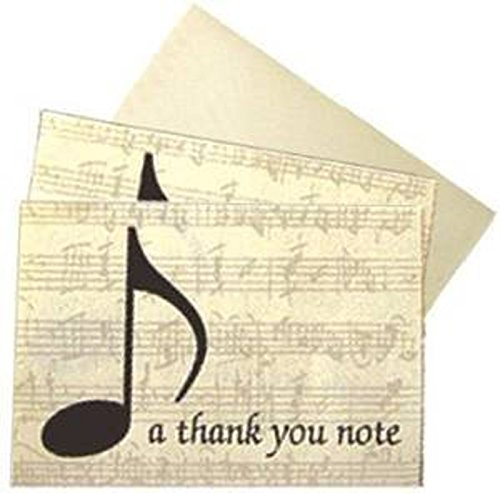 """Boxed Set Of Musical / Music Themed """"Thank You"""" Note Cards - """"a thank you note"""" - Cards Are Beautifully Finished With An Elegant Music Design With Quaver Note On A Lovely Sheet Music Background"""