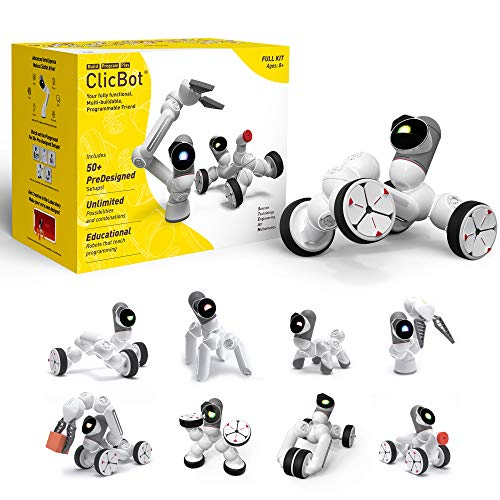 ClicBot Coding Robot Kits for Kids, STEM Educational Toys for Programming with Remote Control, Blocks Robot with Touch Screen for Age 8+ (Full Kit)