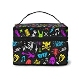 Bolsa de maquillaje Rocknroll s Grunge estilo portátil bolsa de cosméticos organizador multifunción con doble cremallera bolsa de aseo para mujer (9 x 6.2 x 6.5 pulgadas)