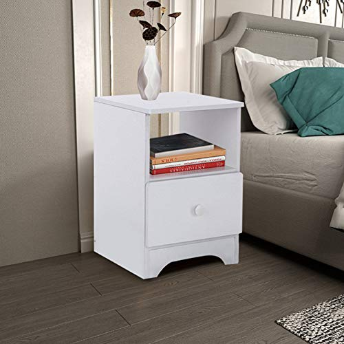 Uk Stock Simple White Bed Side Table Cabinet For Bedroom,1/2 Drawer Sturdy Wooden Bedside Night Stand Storage Unit,Small End Table (White Single Drawer)