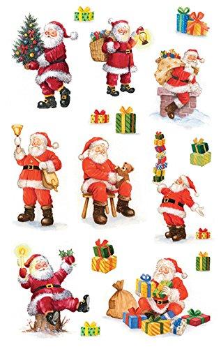 AVERY Zweckform Art. 52624 Aufkleber Weihnachten 16 Weihnachtsmänner (glitzernde Weihnachtssticker aus Papier, selbstklebende Weihnachtdeko für Karten, Geschenke, DIY) 2 Bogen mit je 8 Stickern