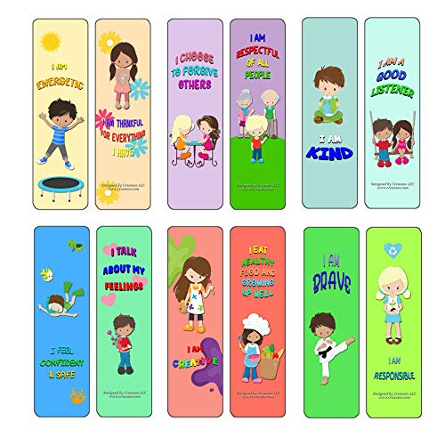 Creanoso Positive Affirmations Cards for Kids (12-Pack) - Awesome Bookmarks for Adult Men & Women, Teens, Boys, Girls – Six Bulk Assorted Bookmarks Designs – Business Giveaways