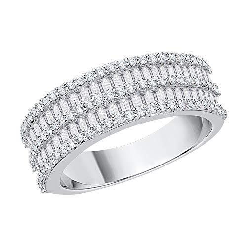 KATARINA - Anillo de plata de ley con corte de diamante redondo y baguette (1 quilate, J-K, SI2-I1)