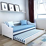 Marko Furniture Solid Pine Wooden Bed Frames Single Double King Bunk Triple Sleigh White Natural Wood 3FT/4FT 6/5FT (Sofa Bed with Trundle)