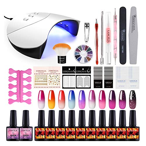 Saint-Acior UV Nagellack Starterset UV Gel Farben Set 10pc Thermolacken 36W UV+LED Nagellampe Nail Set