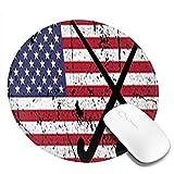 N\A Hockey sobre césped EE. UU. Bandera Americana Palo de Hockey y Bola Desgastados Alfombrillas de ratón desgastadas Alfombrilla de ratón Antideslizante para Juegos Alfombrilla de ratón Redonda
