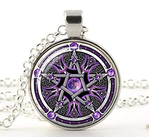 Colgante de pentagrama invertido con símbolos ocultos, joyería de arte fotográfico, joyería hecha a mano
