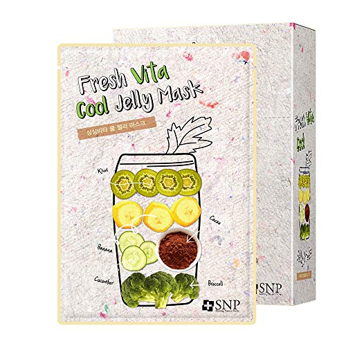 SNP - Fresh Vita Cool Jelly Korean Face Sheet Mask - Firming & Tightening Effects for All Sensitive Skin Types - Contains Vitamin B - 10 Sheets - Best Gift Idea for Mom, Girlfriend, Wife, Her, Women