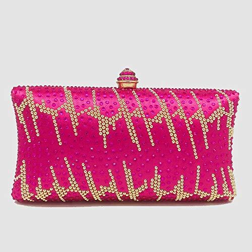 FDGH Caliente Bolsos-Euro Americano Satén Y del Rhinestone De Embrague, Bolso De Noche, Partido, Bolso De Hombro, 18.5 * 6 * 10cm Exquisita Bolsa de Banquete (Color : Pink)
