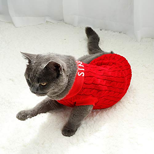 MOCHI Couture Simple Red Sweater for Cats Knitted Warm Pet Clothes Clothes Costumes Shirts for Cats & Kittens - Best Gift for Cat Lovers (Size Medium)