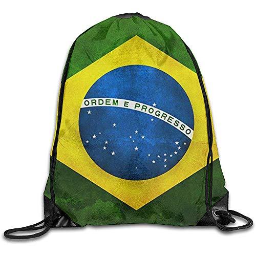 wallxxj Cinch Bags Rétro Brésil Drapeau Randonnée Cordon Sac À Dos Cinch Sacs Impression De Mode Sacs À Cordon École Casual Loisirs Étudiant Voyage Léger Durable