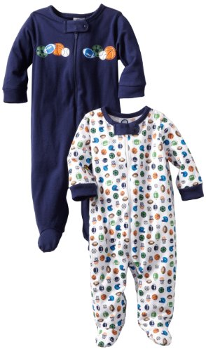 Gerber Baby Boys' 2-Pack Sleep 'N Play, White/Blue, 6-9 Months