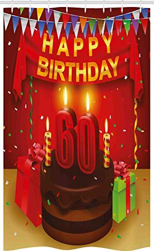 ABAKUHAUS Bunt Schmaler Duschvorhang, Geburtstags-Party-Kuchen, Badezimmer Deko Set aus Stoff mit Haken, 120 x 180 cm, Mehrfarbig