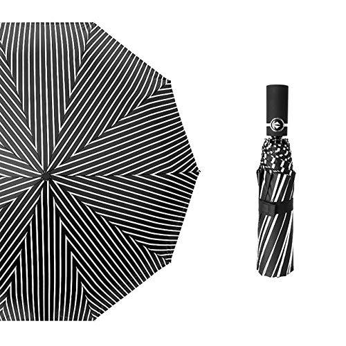 DJMJHG 10k Luxury Folding Blue Sky&white Clouds Auto Men Women Uv Sun Rainy Windproof Automatic Umbrella black stripe