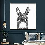 ZSXHMode Schwarz-Weiß-Esel Poster Tier Leinwand Malerei