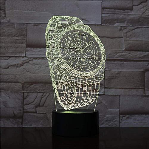 3D LED noche luz para niños abstracto reloj de pulsera 3D ilusión alegría lámpara con control táctil USB carga 16 colores lámparas de escritorio decoración de la habitación regalos 3