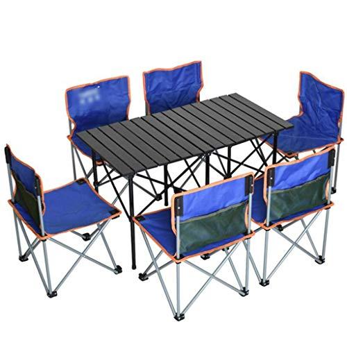 Möbel-Sets Tisch Und Stühle im Freien, Garten Patio-Möbel Set, Angeln Garten Camping Event Table Chair Set, Picknick, Dach, Park, Kinder Picknick-Tisch (Farbe: C, Größe: 6 Stuhl + 1 * Tabelle) WKY