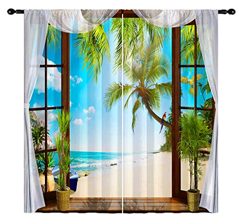 ANHOPE Beach Blackout Curtains, Open Windows with Tropical Ocean Palm Tree Macaw Parrot 3D Pattern, Rod Pocket Room Darkening Window Drapes for Living Room Bedroom, 2 Panels, 84 X 63 Inch