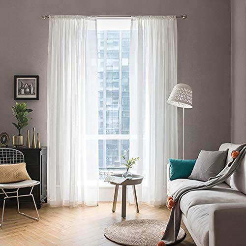 MIULEE 2er Set Voile Vorhang Transparente Gardine aus Voile Polyester Schlaufenschal Transparent Wohnzimmer Luftig Dekoschal für Schlafzimmer Weiß 55