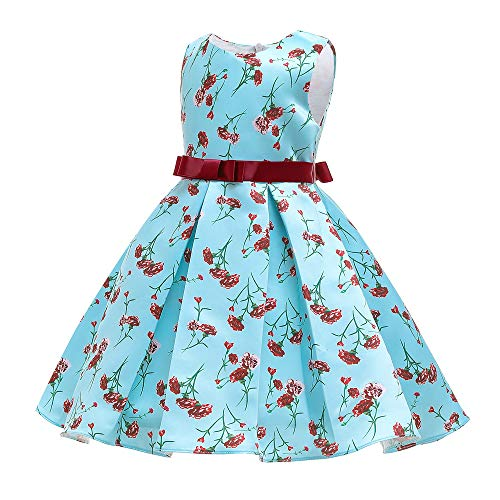 Mädchen-Partykleid, Prinzessinnen-Kleid für Sommer, Festzug, Hochzeit, Taufkleid, für 2–10 Jahre alte Mädchen, 123, blau, 120