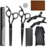 Professional Hair Scissors Set Hair Thinning Scissors Hairdressing Shears Set with Wipe Cloth Hair Comb Clips Wrench Upgraded Haircut Se(Black)