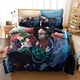 Demon Slayer Bed Set Full Size Anime Bedding Set Ultra Soft Microfiber Bedding Cover with 1 Duvet Cover and 2 Pillowcase for Boys Girls