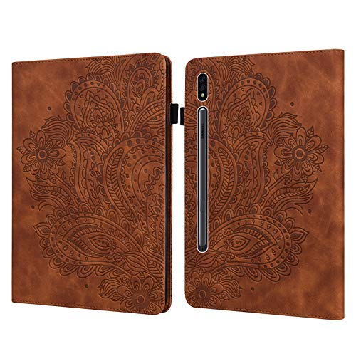 ShinyHülle PU Leder mit Silikon Tablet Etui für Samsung Galaxy Tab S7/SM-T870 SM-T875 Klappenhülle Standfunktion Schutzhülle mit Kartenfächer Geprägtes Paisley Blume Hülle für Galaxy Tab S7 Braun