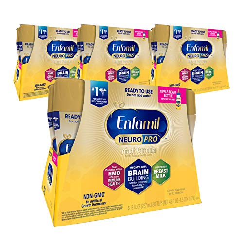 Enfamil NeuroPro Ready to Feed Baby Formula, Ready to Use, Brain and Immune Support with DHA, Iron and Prebiotics, Non-GMO, 8 Fl Oz, 6 count (Pack of 4), Total 24 bottles