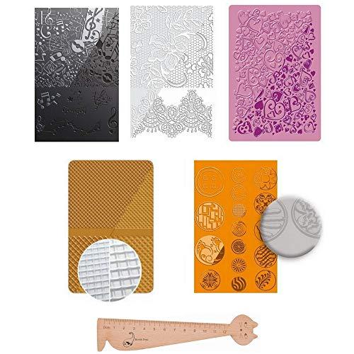 Set mit 5 Textur-Schablonen für Fimo und Bastelarbeiten + 1 Lineal Lesezeichen aus Holz