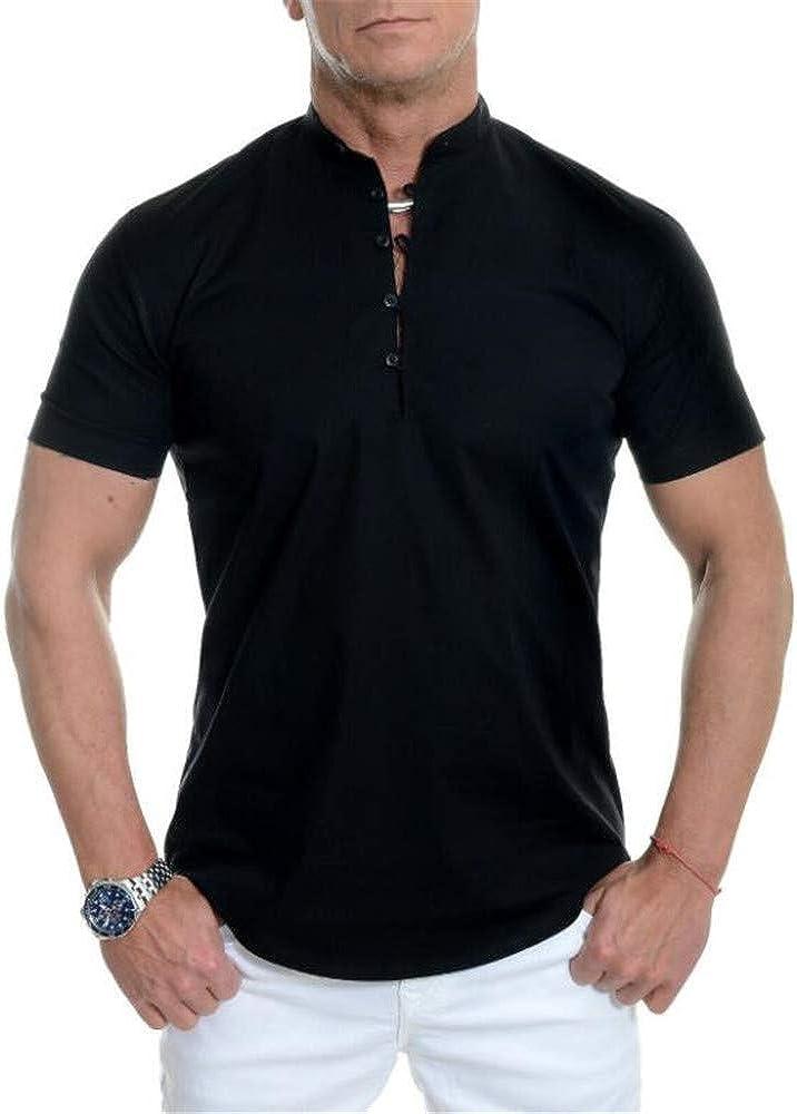 Camisa De Manga Corta para Hombres De Verano, Cuello Alto De ...