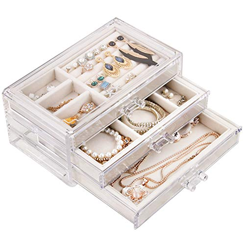 Tasybox Clear Jewelry Box Organizer 3 Drawers Velvet Jewellery Boxes Acrylic Ring Earring Necklace Bracelet Holder Display Case Gift for Women Girls Men (Beige)