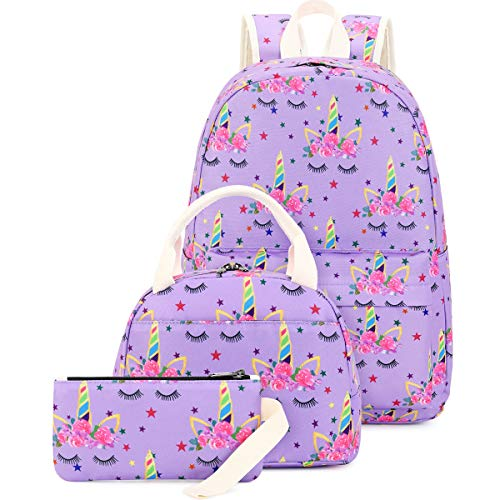 CAMTOP Girls School Backpack Kids Bookbag with Lunch Bag Pencil Case Teen Girls Schoolbag for Elementary Middle School Student (041 Unicorn-Purple)
