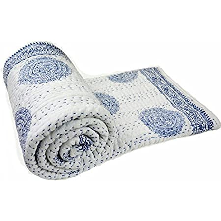 white and blue flower hand block printed kantha quilt indian hand stitch KANTHA