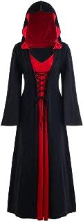 Kiminana Women's Stitching Halloween Long Sleeve Dress Robe Plus Size Hooded Lace Up Patchwork Renaissance Costumes